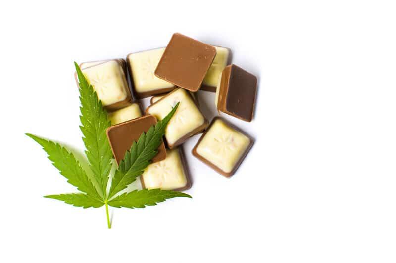 Cannabis chocolate with a cannabis leaf