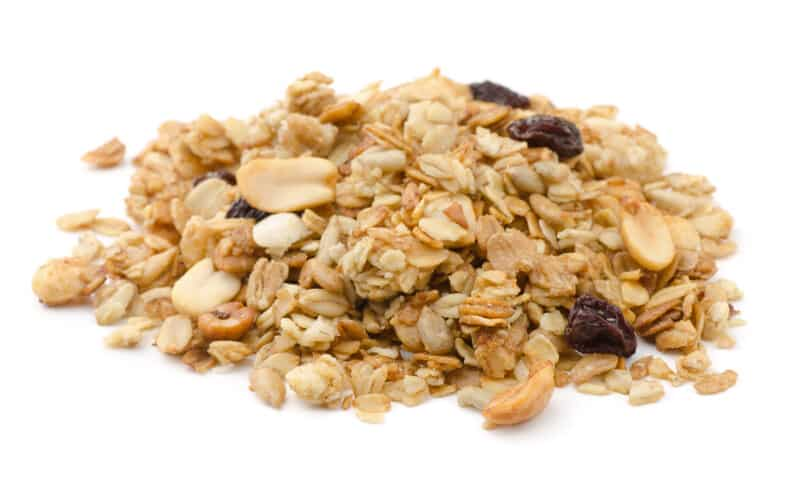 hemp granola on white surface