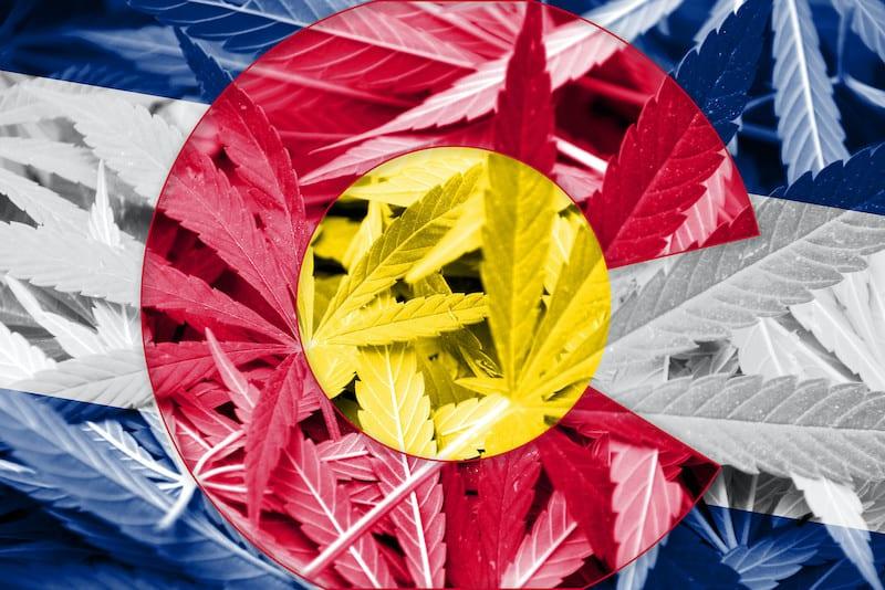 colorado flag and marijuana leaves, cannabis college colorado