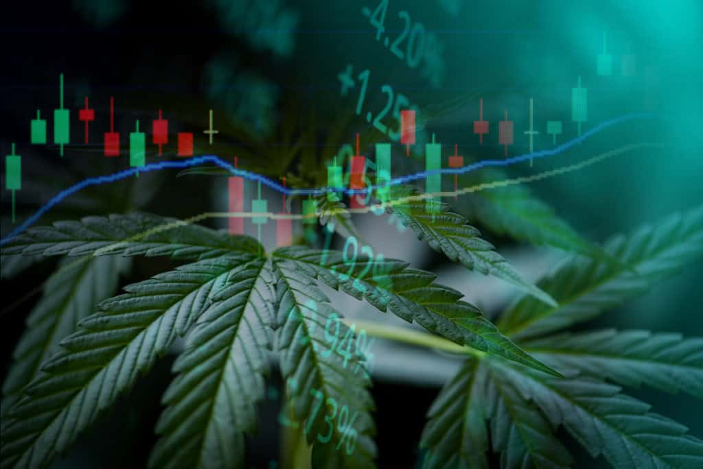 marijuana leave and stocks graph, top cannabis stocks for may 2021