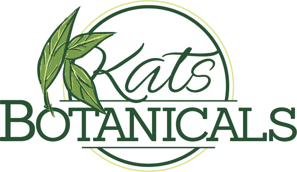 green text with leaves on white surface, Kats botanical review
