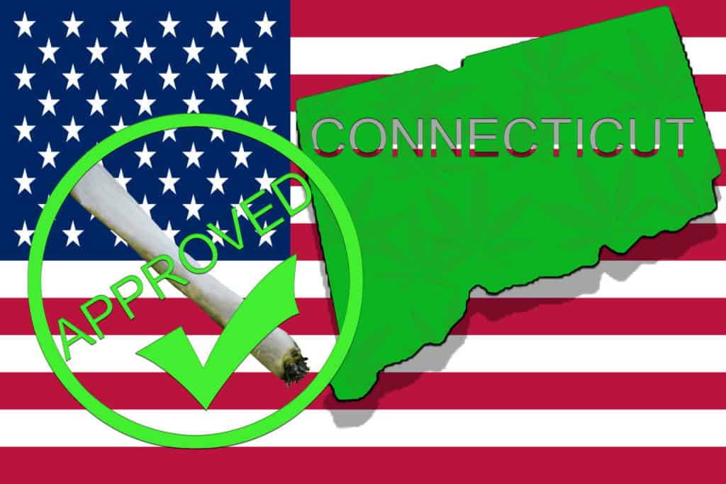 US flag with connecticut outline and an approved checkmark, connecticut has legalized adult-use cannabis