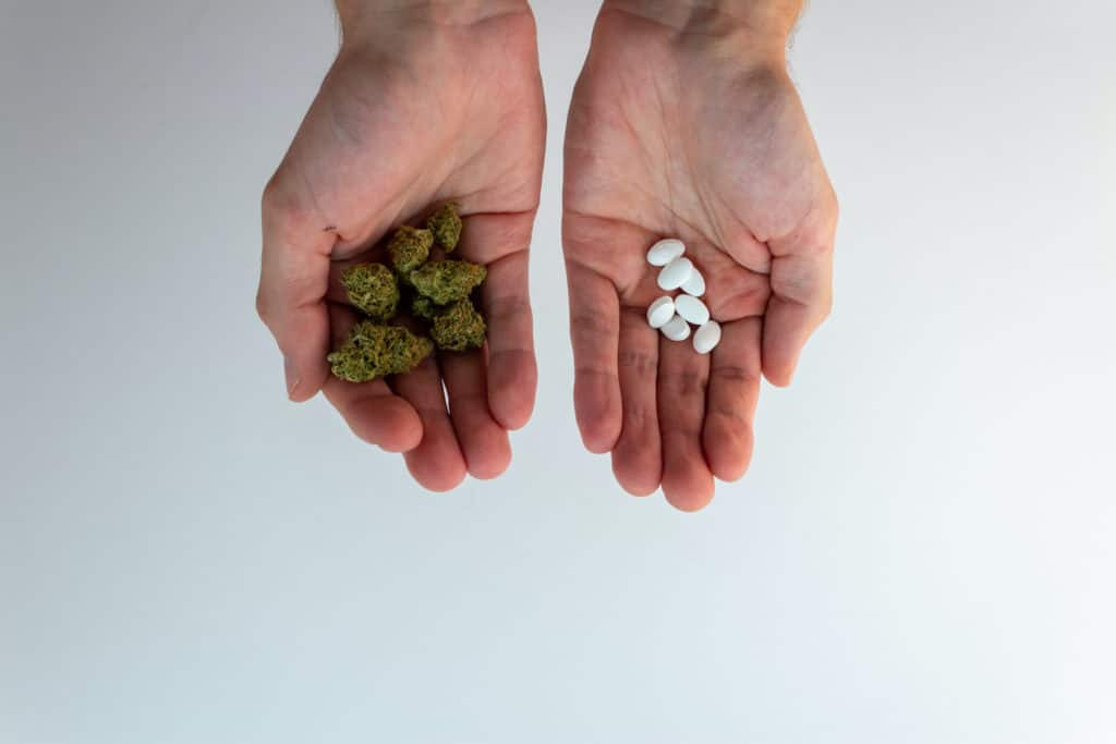 Hands holding pills and marijuana in each hand, adderall and weed