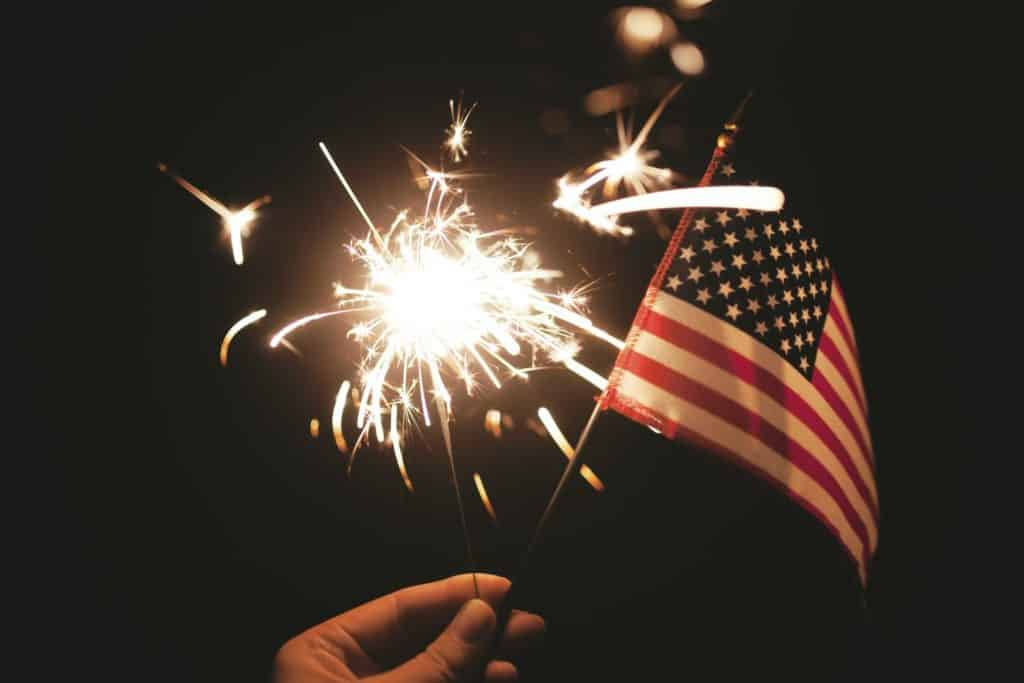 American flag and fireworks, patriotic cannabis strains