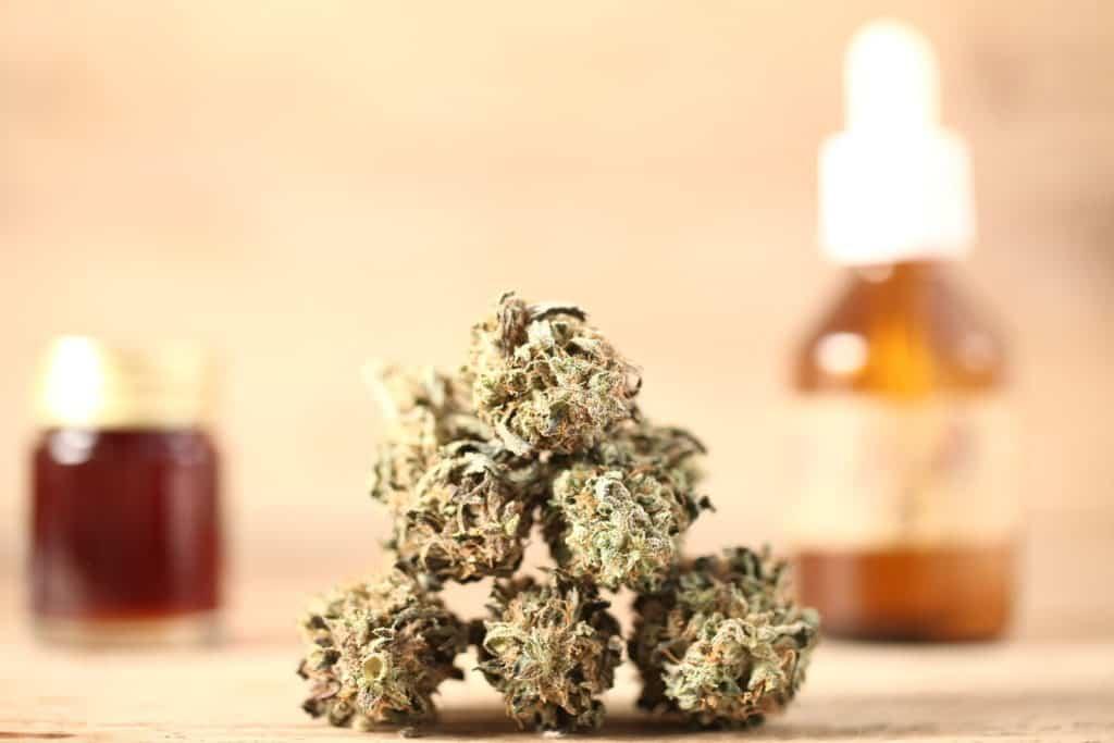 marijuana bud on tan surface, martian rocks weed