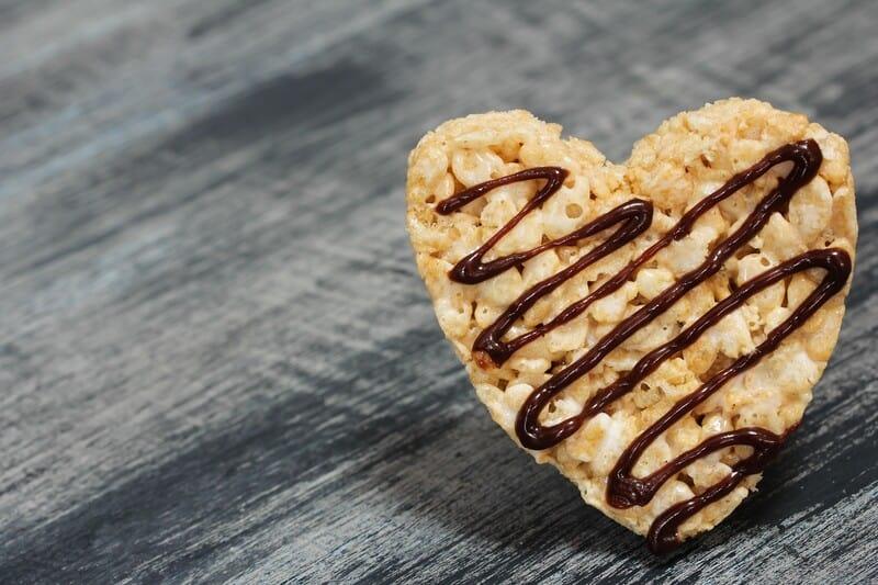 heart shaped rice crispy treat, cbd rice Krispy treats