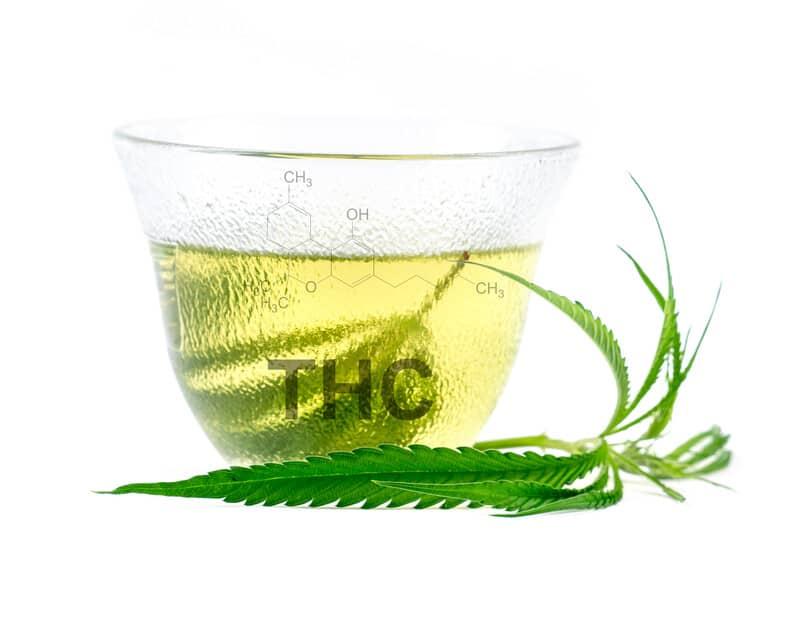 glass of tea with THC written on it, marijuana stem tea
