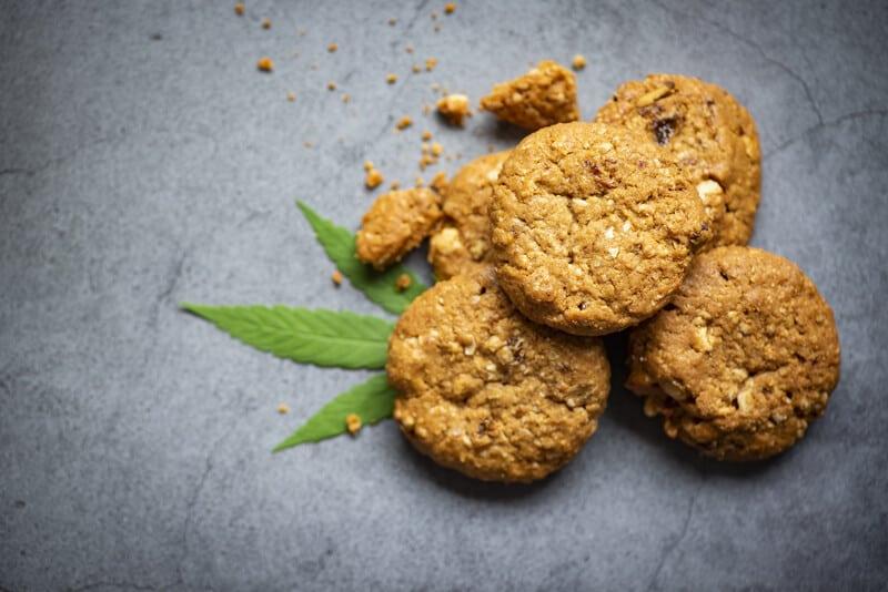 cookies in a pile with a marijuana leaf, marijuana cookie recipe