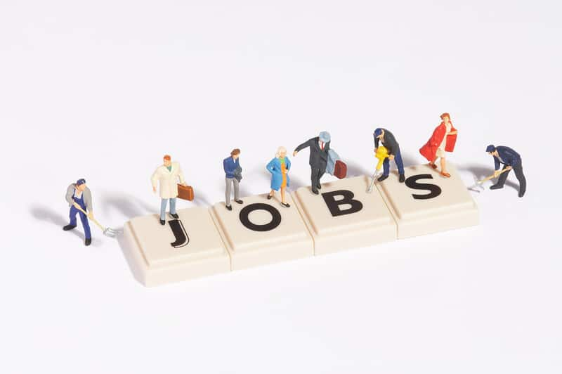jobs spelled out in blocks with people on them, the great resignation